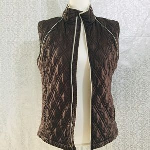 Levelwear Brown Quilted Faux Fur Lined Vest - M